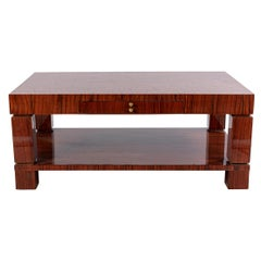 French Midcentury Rosewood Inlaid Coffee Table