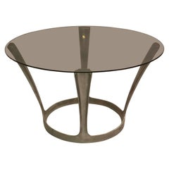 French Midcentury Round Aluminum and Glass Center Dining Table by Boris Tabacoff