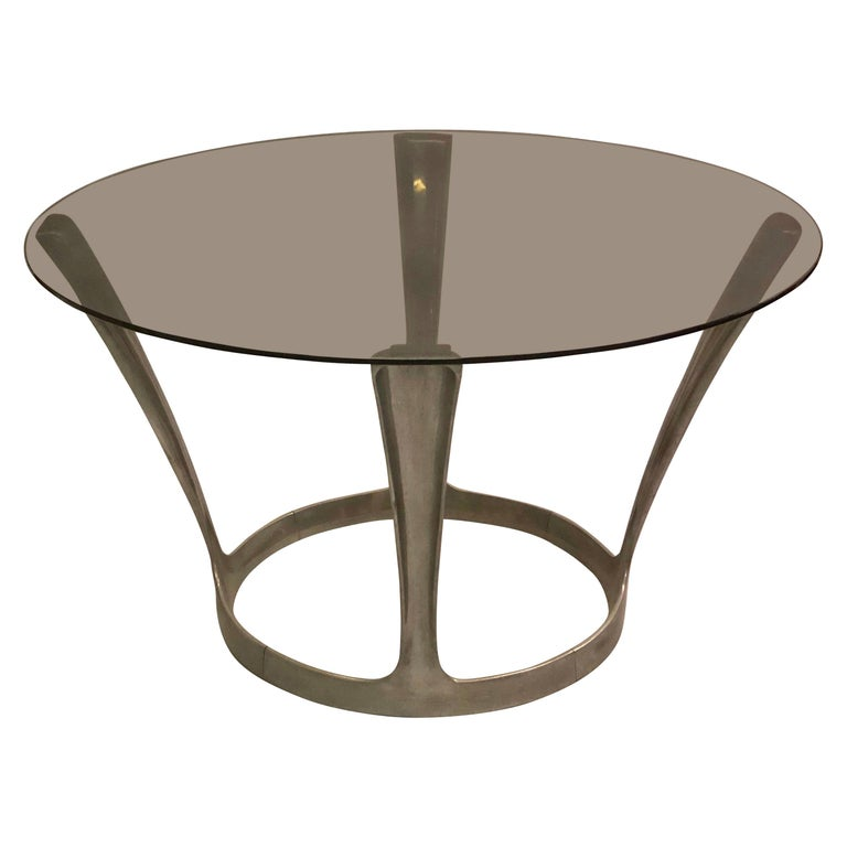 French Midcentury Round Aluminum and Glass Center Dining Table by Boris Tabacoff For Sale