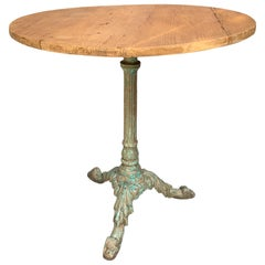 French Midcentury Round Patio Table with Patina Legs