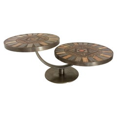 French Midcentury Sculptural Round Ceramic Two-Tiered Coffee Table Signed JGP