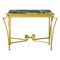 French Midcentury Side Table with Green Marble Top and Gilded Iron Frame