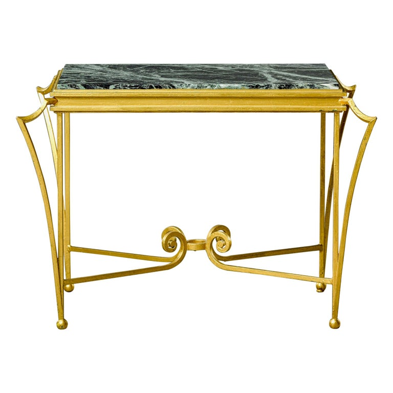 French Midcentury Side Table with Green Marble Top and Gilded Iron Frame For Sale