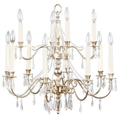 French Midcentury Silver Plated Chandelier with Crystals, 1950s