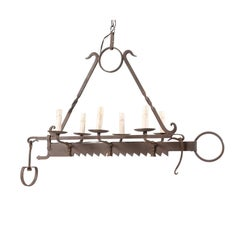 French Midcentury Six-Light Iron Chandelier Made from 19th Century Spit-Jack