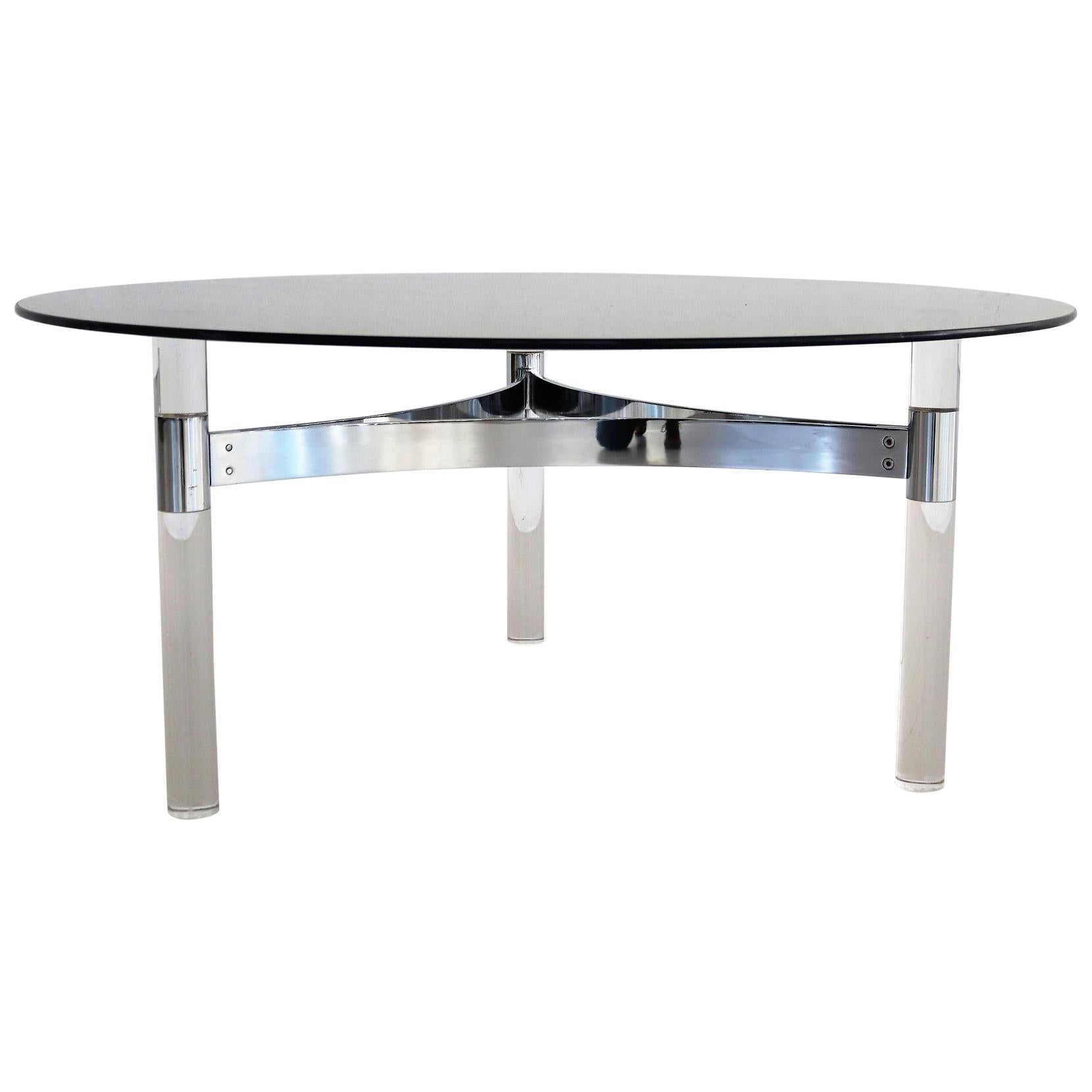 French Midcentury Smoke Glass Coffee Table on Lucite and Chrome Base, 1970s