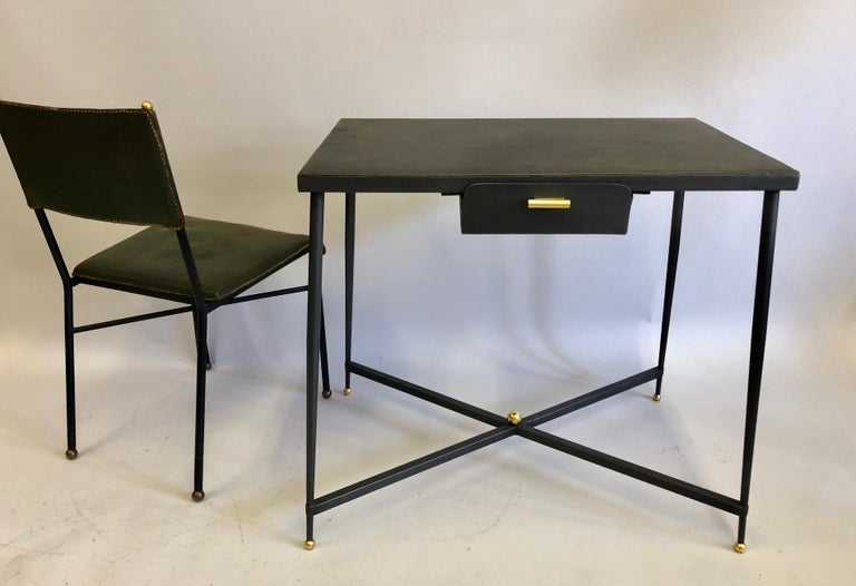 Mid-Century Modern French Midcentury Steel and Brass Desk with Leather Desk Chair by Jacques Adnet For Sale
