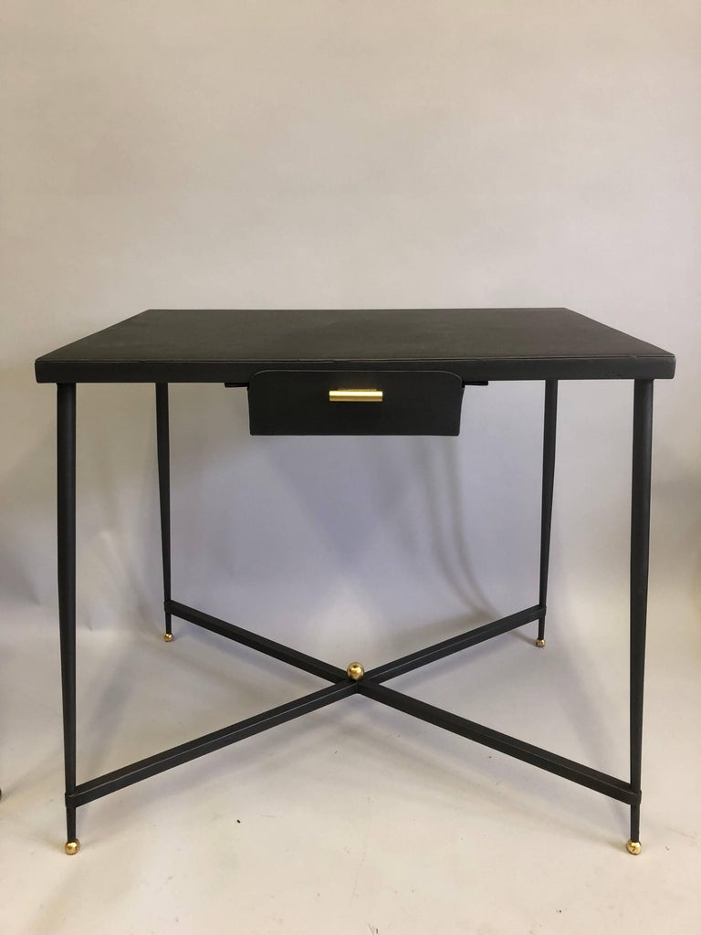French Midcentury Steel and Brass Desk with Leather Desk Chair by Jacques Adnet In Good Condition For Sale In New York, NY