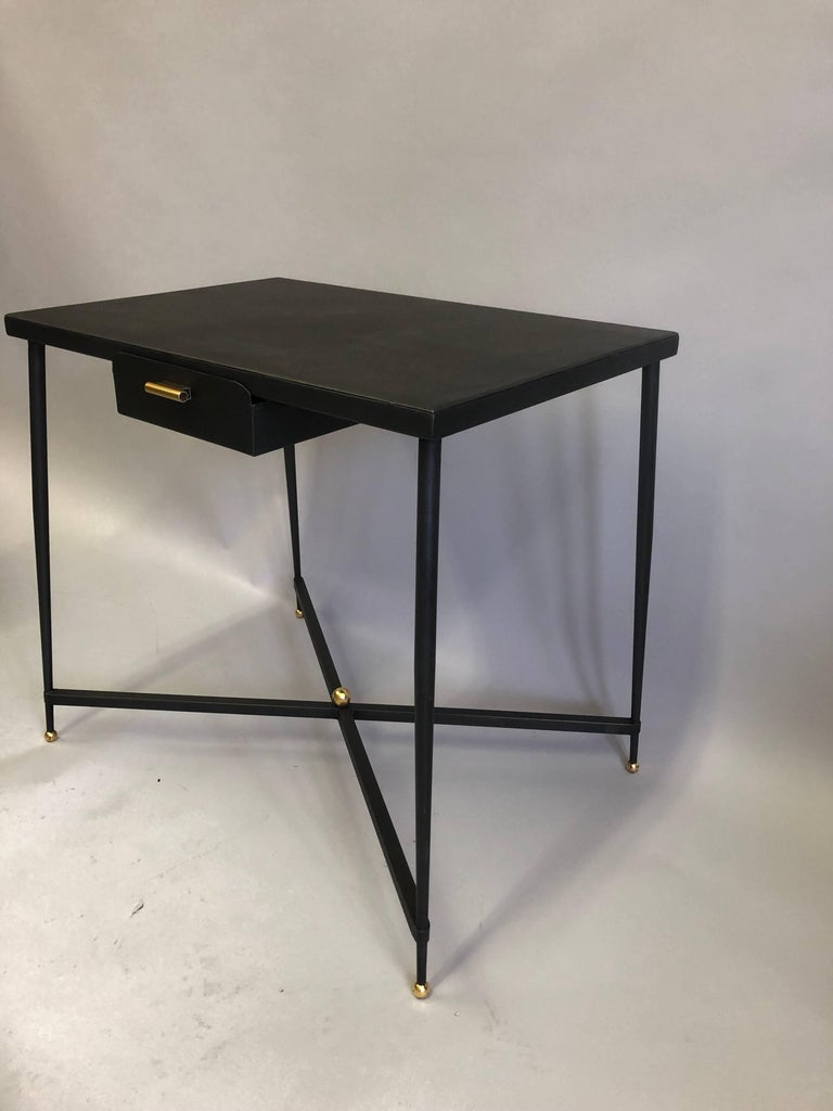 20th Century French Midcentury Steel and Brass Desk with Leather Desk Chair by Jacques Adnet For Sale