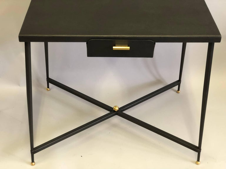 French Midcentury Steel and Brass Desk with Leather Desk Chair by Jacques Adnet For Sale 1