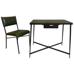 French Midcentury Steel and Brass Desk and Leather Desk Chair by Jacques Adnet