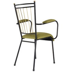 20th Century Vintage French Steel and Brass Armchairs, 1950s