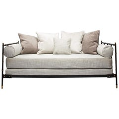 French Midcentury Steel, Bronze, Black bamboo Leather Daybed by Jacques Adnet