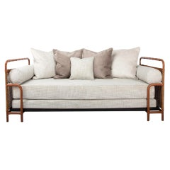 French Midcentury Steel, Leather and Rattan Daybed, Jacques Adnet