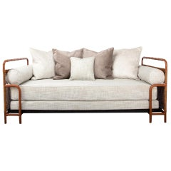 French Midcentury Steel, Leather faux bamboo and Rattan Daybed, Jacques Adnet