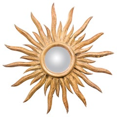 French Midcentury Sunburst Mirror with Convex Glass and Wavy Sun Rays