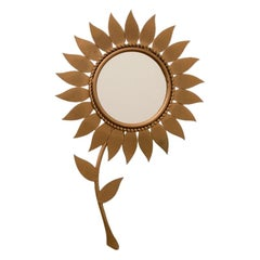 French Midcentury Sunflower Mirror by Chaty Vallauris, c.1950