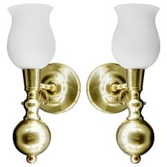 French Midcentury Swivel Boat Wall Light Pair, 1960s
