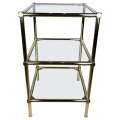 French Midcentury Three-Tiered Brass and Glass Side Table