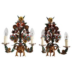 French Midcentury Tole Floral Vintage Wall Sconces with Hand Painted Flowers