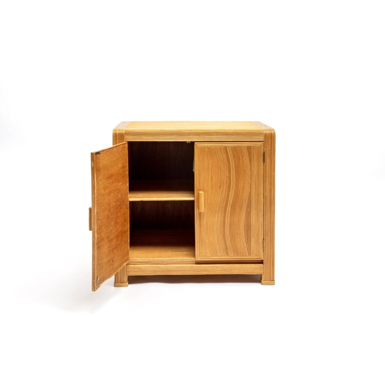 Mid-20th Century French Midcentury Two Doors Bamboo Cabinet, circa 1950 For Sale