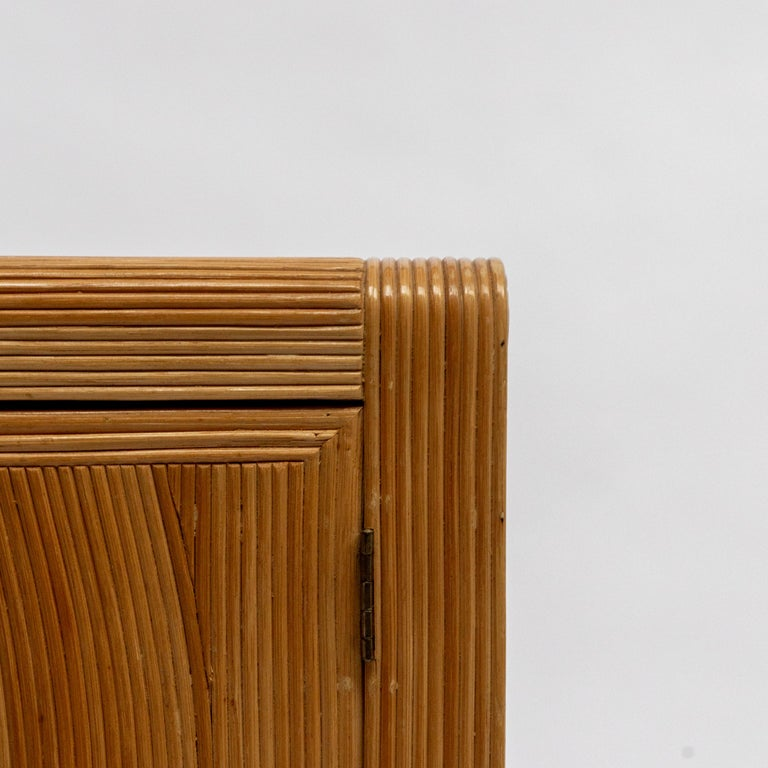 French Midcentury Two Doors Bamboo Cabinet, circa 1950 For Sale 1