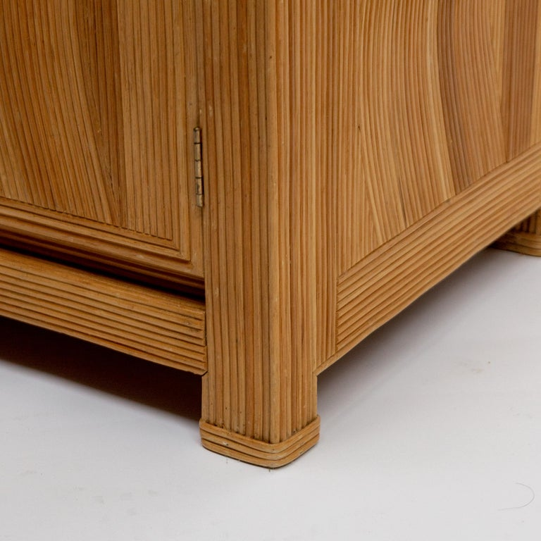 French Midcentury Two Doors Bamboo Cabinet, circa 1950 For Sale 3