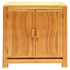 French Midcentury Two Doors Bamboo Cabinet, circa 1950