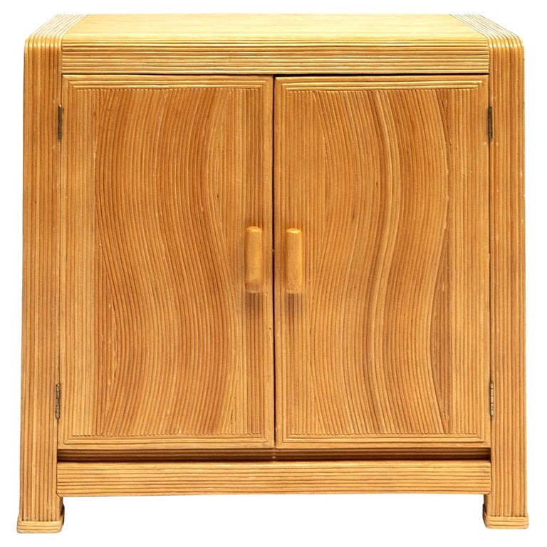 French Midcentury Two Doors Bamboo Cabinet, circa 1950 For Sale