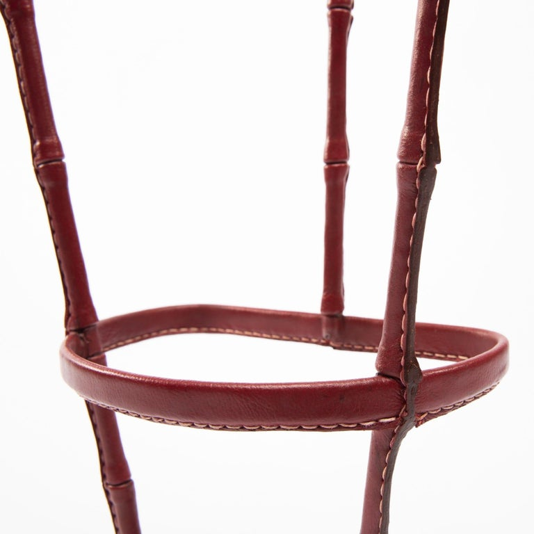 Mid-20th Century French Midcentury Umbrella Stand, Jacques Adnet, Saddle Stitched Leather For Sale