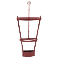 French Midcentury Umbrella Stand, Jacques Adnet, Saddle Stitched Leather