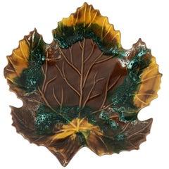 French Midcentury Vallauris Leaf Design Majolica Ceramic Platter or Centerpiece