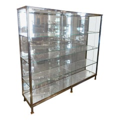 French Midcentury Vintage Chrome, Glass, Mirrored Display Cabinet