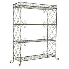French Midcentury Wire Freestanding Shelf with Diamond Motifs and C-Scrolls