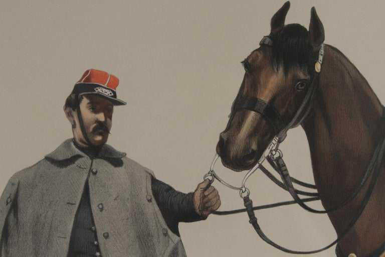 French Military Hand Colored Engraving, Dated 1859 For Sale 1