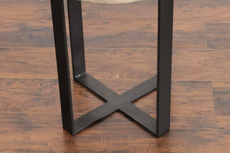 Contemporary French Millstone Drink Tabletop Mounted on a Black Iron Custom-Made Base For Sale