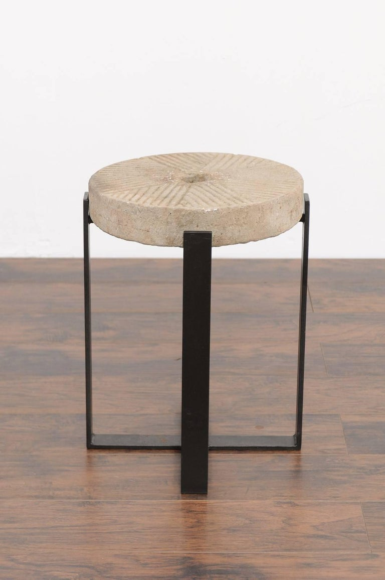 Stone French Millstone Drink Tabletop Mounted on a Black Iron Custom-Made Base For Sale