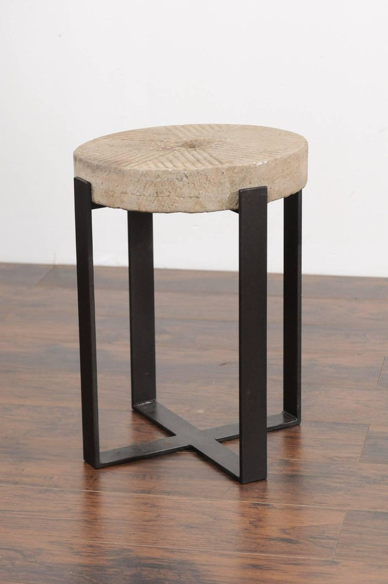 French Millstone Drink Tabletop Mounted on a Black Iron Custom-Made Base For Sale 1