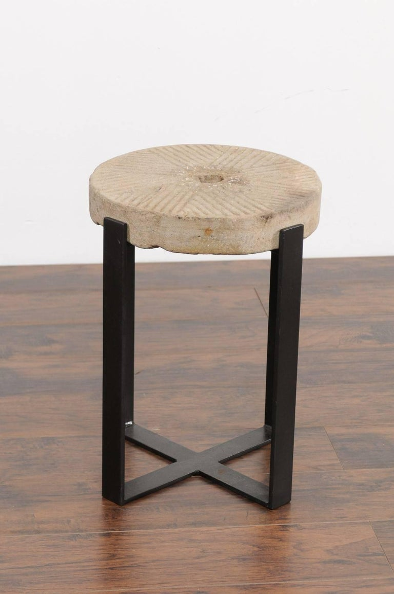 French Millstone Drink Tabletop Mounted on a Black Iron Custom-Made Base For Sale 2