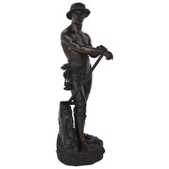French Miner in Bronze by Charles-Octave Levy