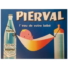 French Mineral Water Original Vintage Advertising Poster, 'Pierval' by J. Auriac