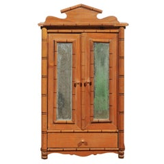 French Miniature Bamboo Armoire