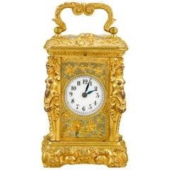 French Miniature Gilt Bronze Carriage Clock
