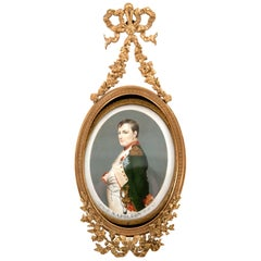 French Miniature of Napoleon I after Paul Delaroche in Ormolu Frame, 1860
