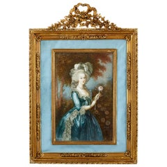 French Miniature Portrait of Marie Antoinette