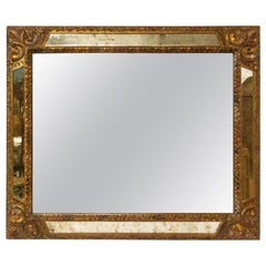 French Mirror with Wood Golden Frame, 1980