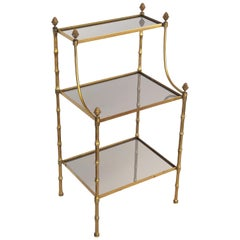 French Mirrored Étagère or Shelves of Brass with Faux Bamboo Design