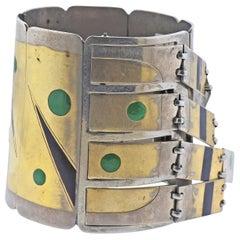 French Mixed Metal Gemstone Inlay Fringe Bracelet