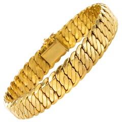 French Modern 18 Karat Yellow Gold Flat Curb Bracelet