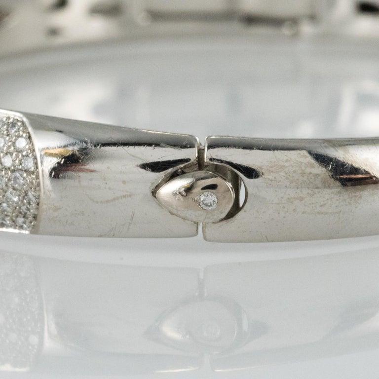 French Modern 3.58 Carat Diamond 18 Karat Gold Bangle Bracelet For Sale 7